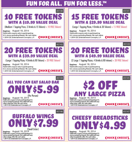 For your information, Chuck E Cheese also provides you the Chuck E Cheese printable coupons. So, besides signing up on the website, you can take them on the special page. If you become their website member, they will send the coupons to your email.
