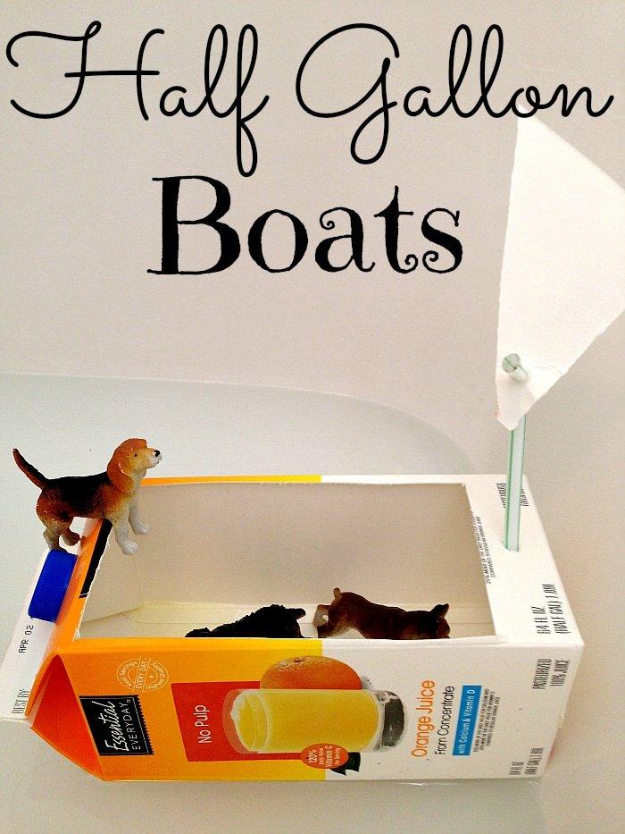 Repurposing half gallon containers into a fun boat!!