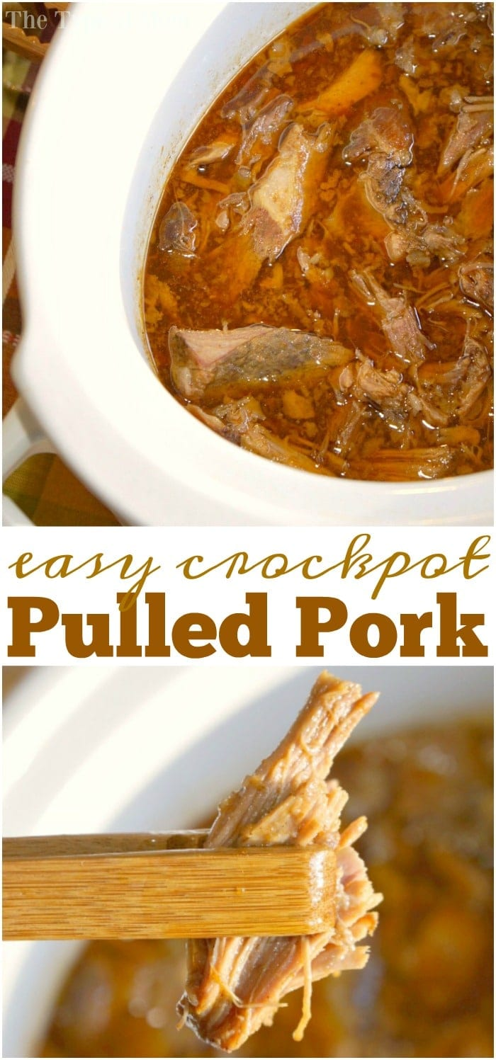 BBQ pulled pork crockpot recipe that has a few ingredients and is great over rice, in a bun, or for soft tacos. You've got to try this in your slow cooker! #pulledpork #crockpot #slowcooker #barbecue