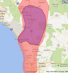 Coverage area is Menifee to Escondido. Red area requires a minimum order of $175