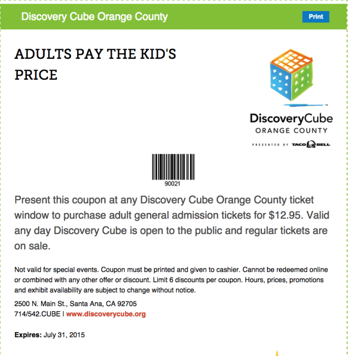 Discovery cube discount tickets