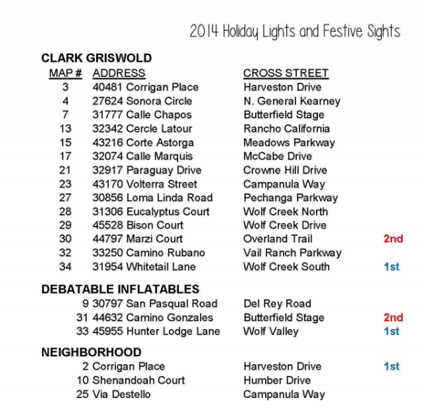 temecula christmas light map 2014