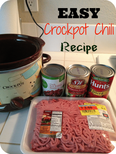 EASIEST crockpot chili recipe ever!! Just 5 ingredients for this slow cooker favorite of ours.