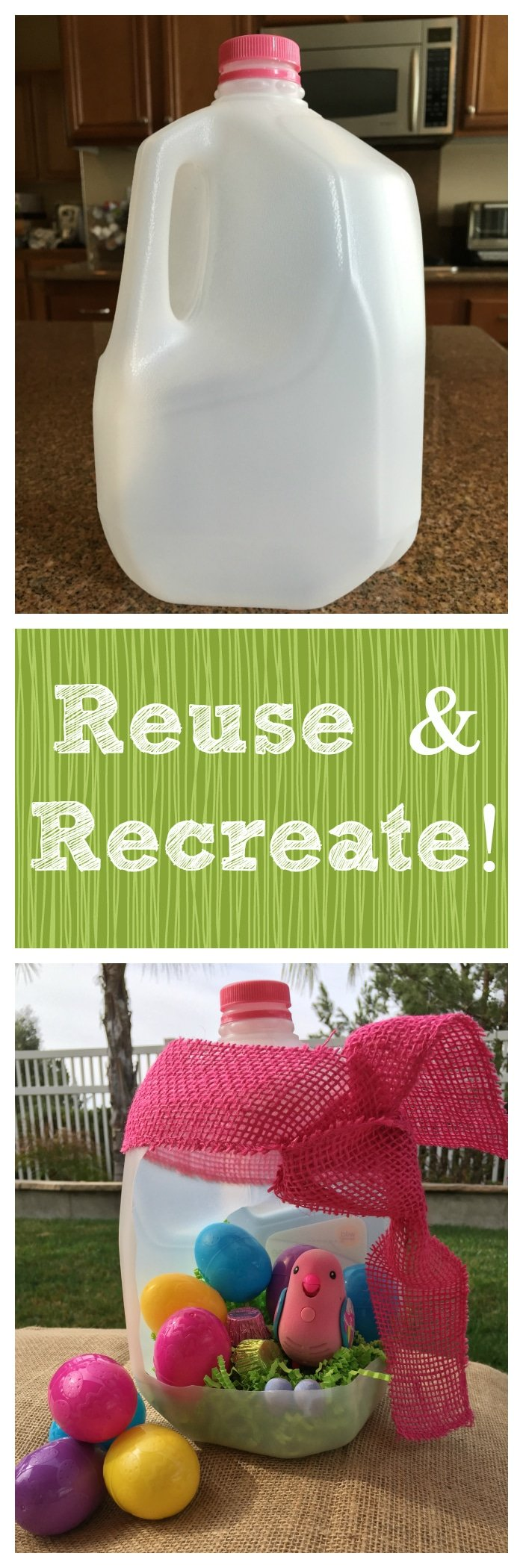 How to make your own Easter basket by repurposing a milk carton.