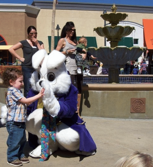 Easter bunny at Temecula mall.