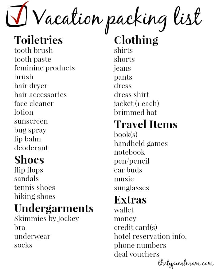 Vacation Packing List  The Typical Mom