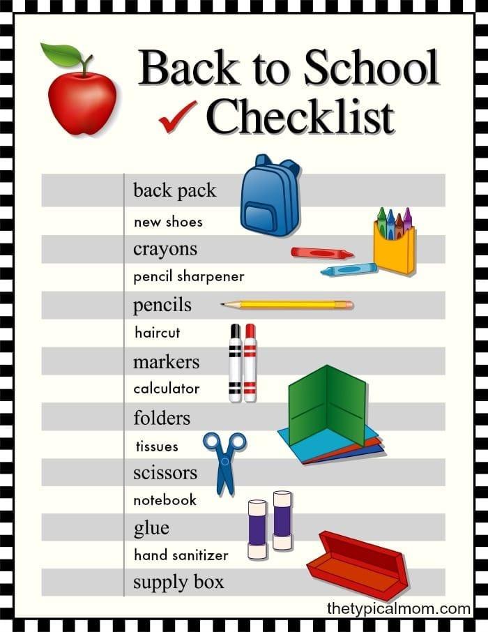 Back to school printable checklist.