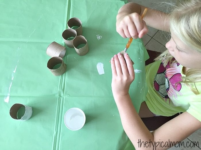 Repurposing activity with toilet paper rolls.