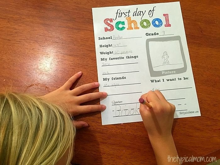 Free printable first day of school paper