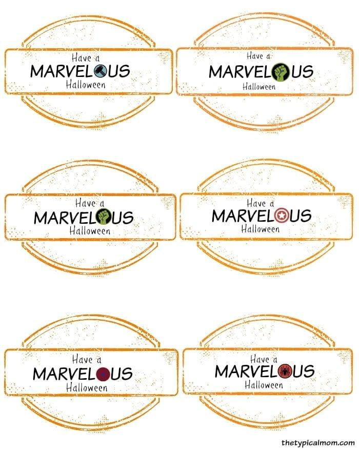 Printable Marvel Halloween Wrappers.