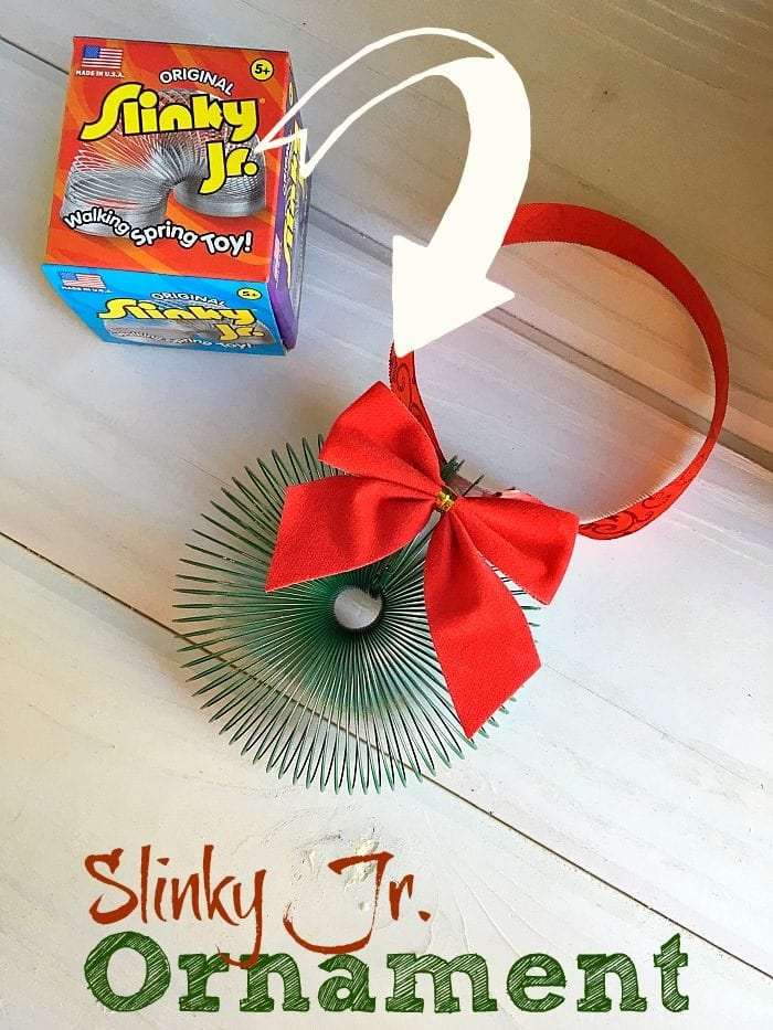 Slinky Christmas wreath ornament that is fun for kids to make. Let them play with the slinky first, then transform it into a Christmas ornament!