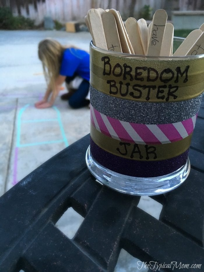 Make a boredom buster jar for your family. GREAT way to break the I'm bored and costs little to nothing to make. Here are some ideas.