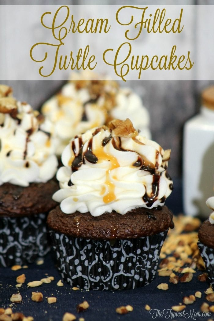 Cream filled turtle cupcakes that are so devine and easy to do using this trick to fill the inside with pudding filling!