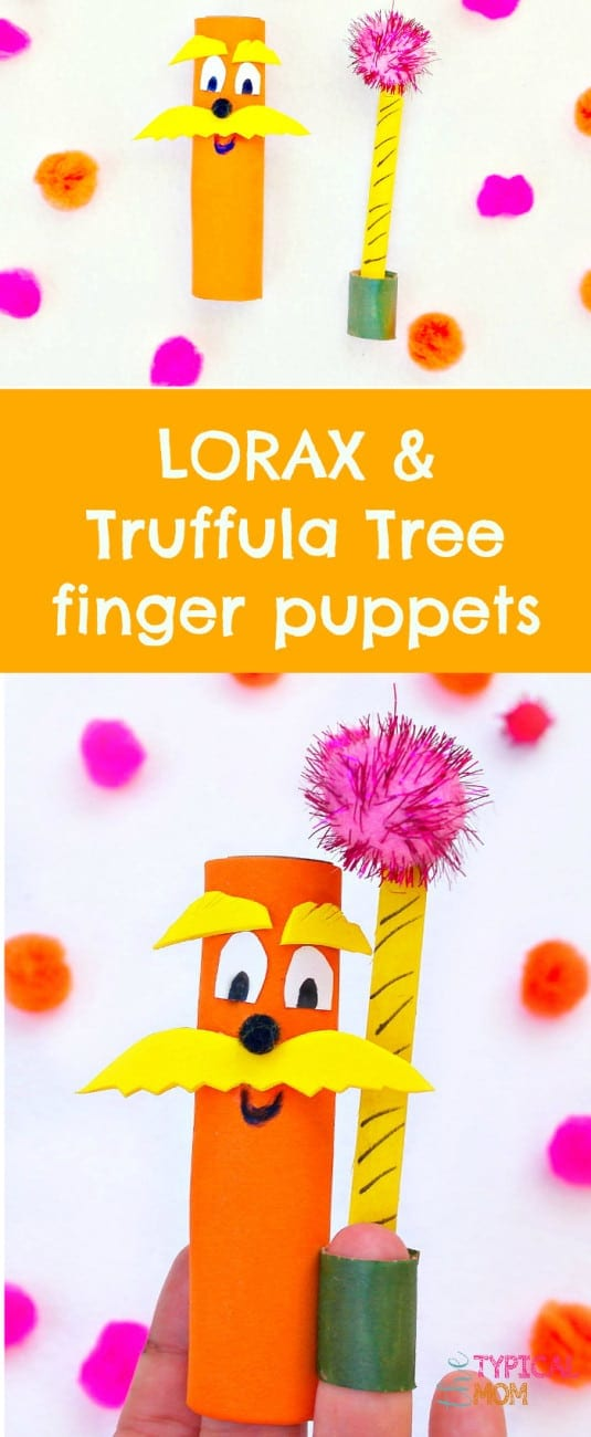 This is how to make these cute Dr. Seuss The Lorax Truffula tree finger puppets! A cheap craft made out of toilet paper rolls and really fun to make during a Dr.Seuss birthday party or activity at home for those who love this famous author. #drseuss #lorax #craft #birthdayparty #activity #fingerpuppets