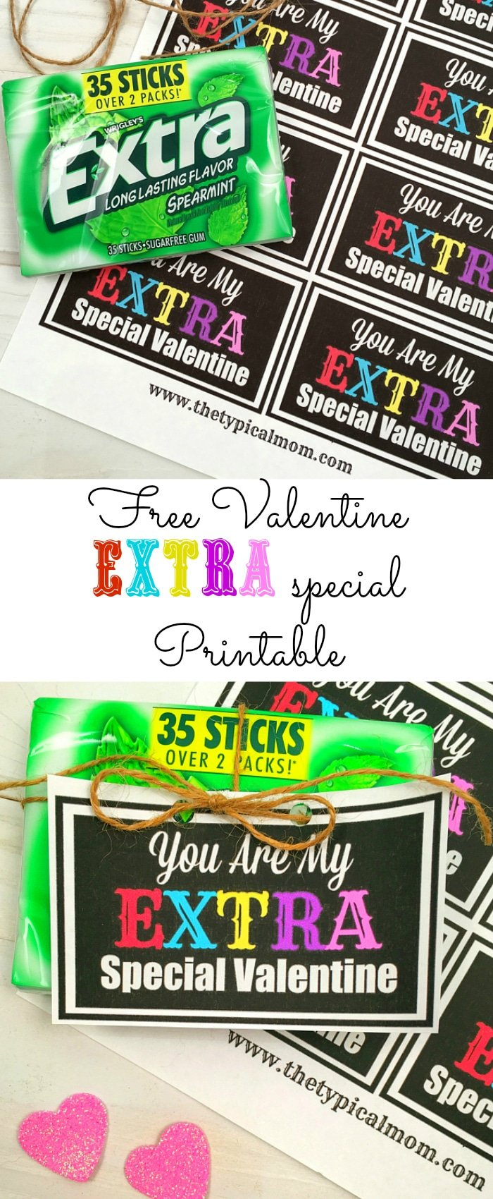 This is an image of Magic Extra Gum Valentine Printable