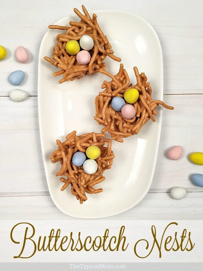 Butterscotch haystacks are so easy to make into nests. Perfect Easter dessert just by adding chocolate eggs, great for cooking with kids.