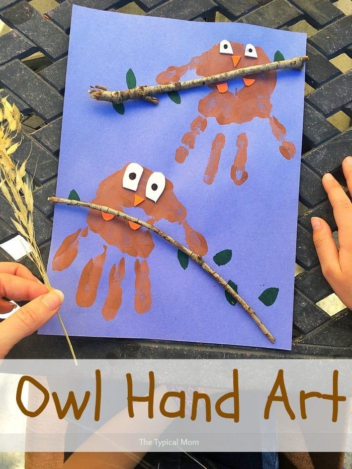 Owl hand print art