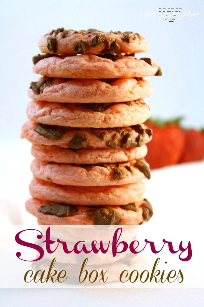 Strawberry chocolate chunk cake mix cookie recipe that is fabulous!! Just throw it together and you're done!