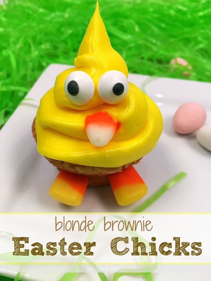 The cutest blonde brownie Easter Chick desserts ever!!