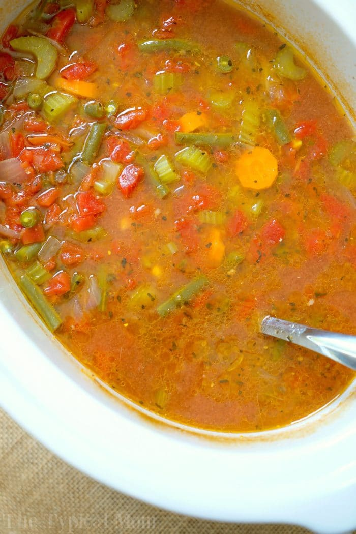 Easy crock pot vegetable beef soup the typical mom for Crock pot vegetarian recipes healthy
