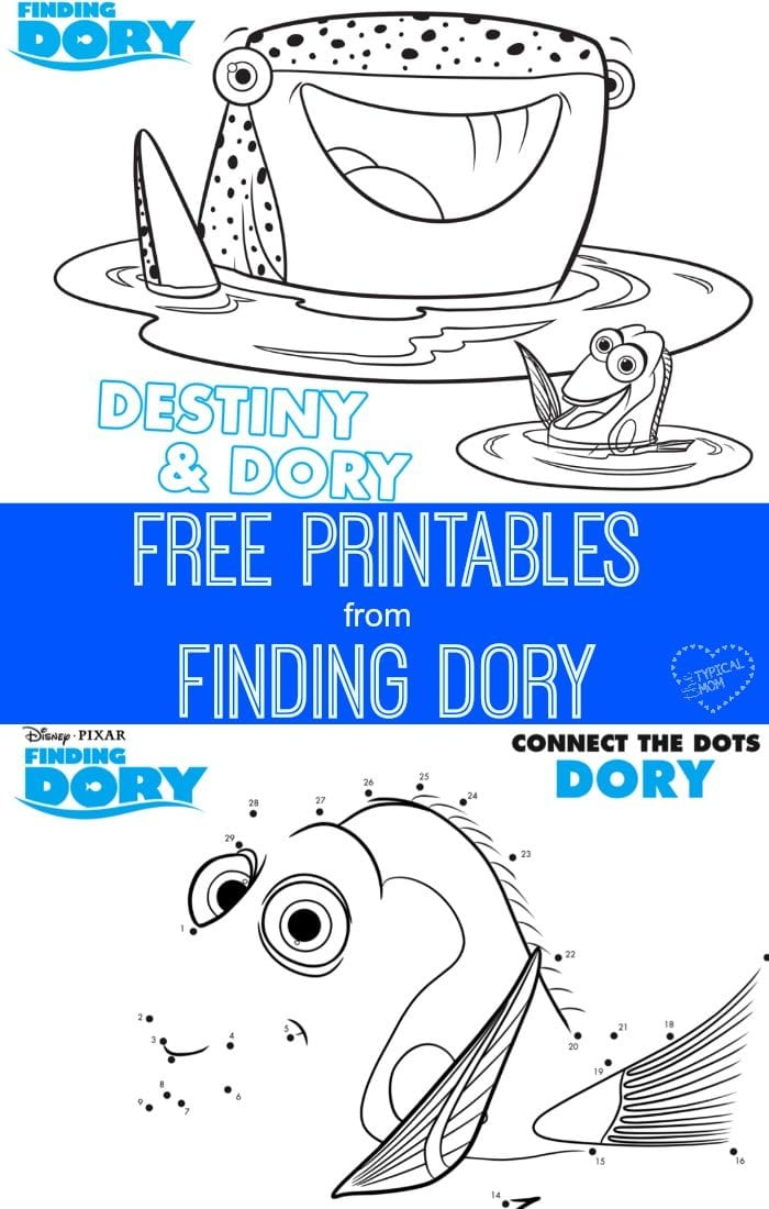 Free coloring pages, dot to dot and mazes from the movie Finding Dory are here!!
