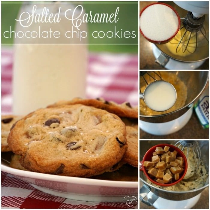 Amazing salted caramel chocolate chip cookies.
