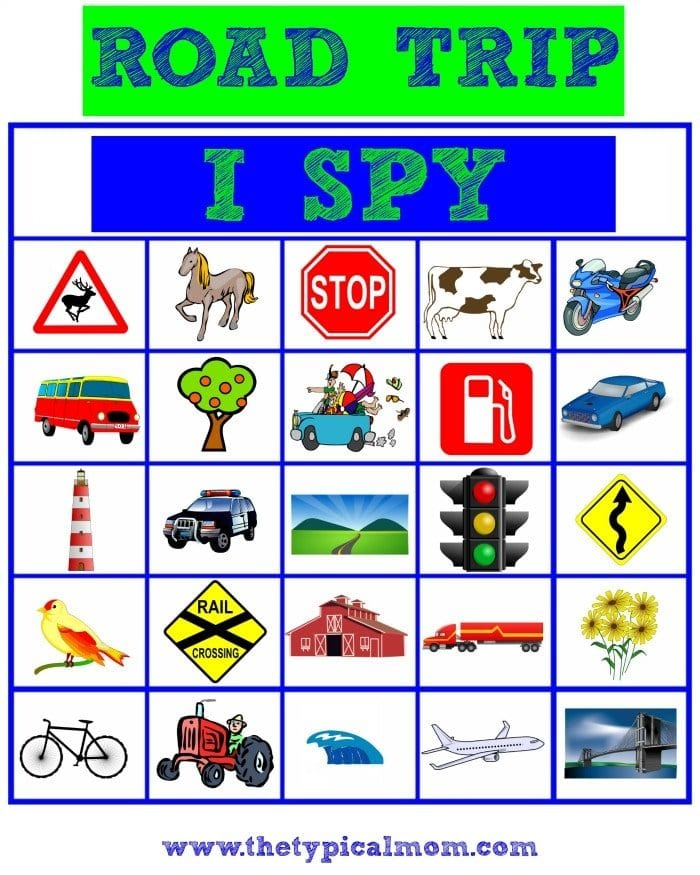 photograph about Travel Bingo Printable named Highway Getaway I Spy · The Standard Mother