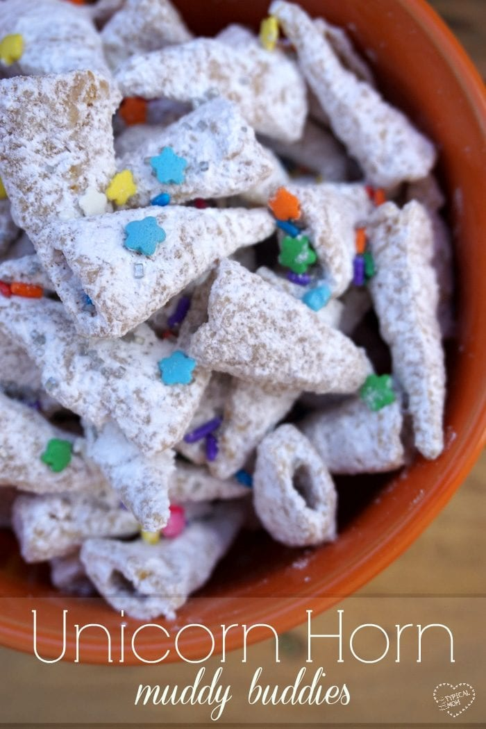 Unicorn horn muddy buddies! Such a fun way to make puppy chow with a unicorn twist to them!!