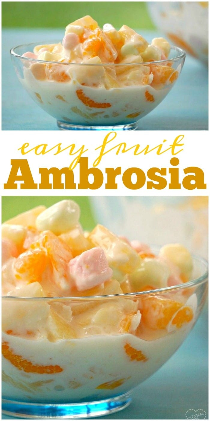 Easy ambrosia recipe for you that just takes a few ingredients and is really yummy. Dessert side dish with fruit and marshmallows our whole family loves.