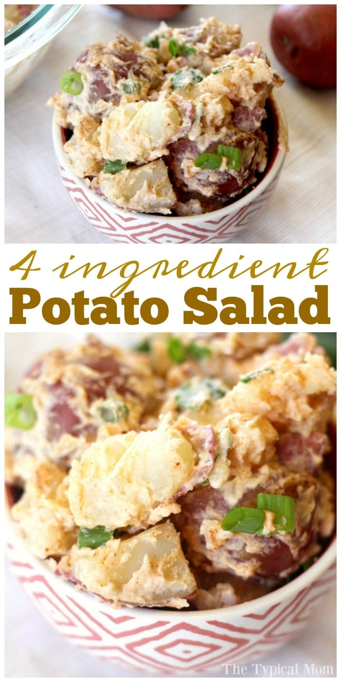 Simple potato salad recipe that is a great side dish for a bbq or potluck! Easy potato salad you can build on to and add what you like.