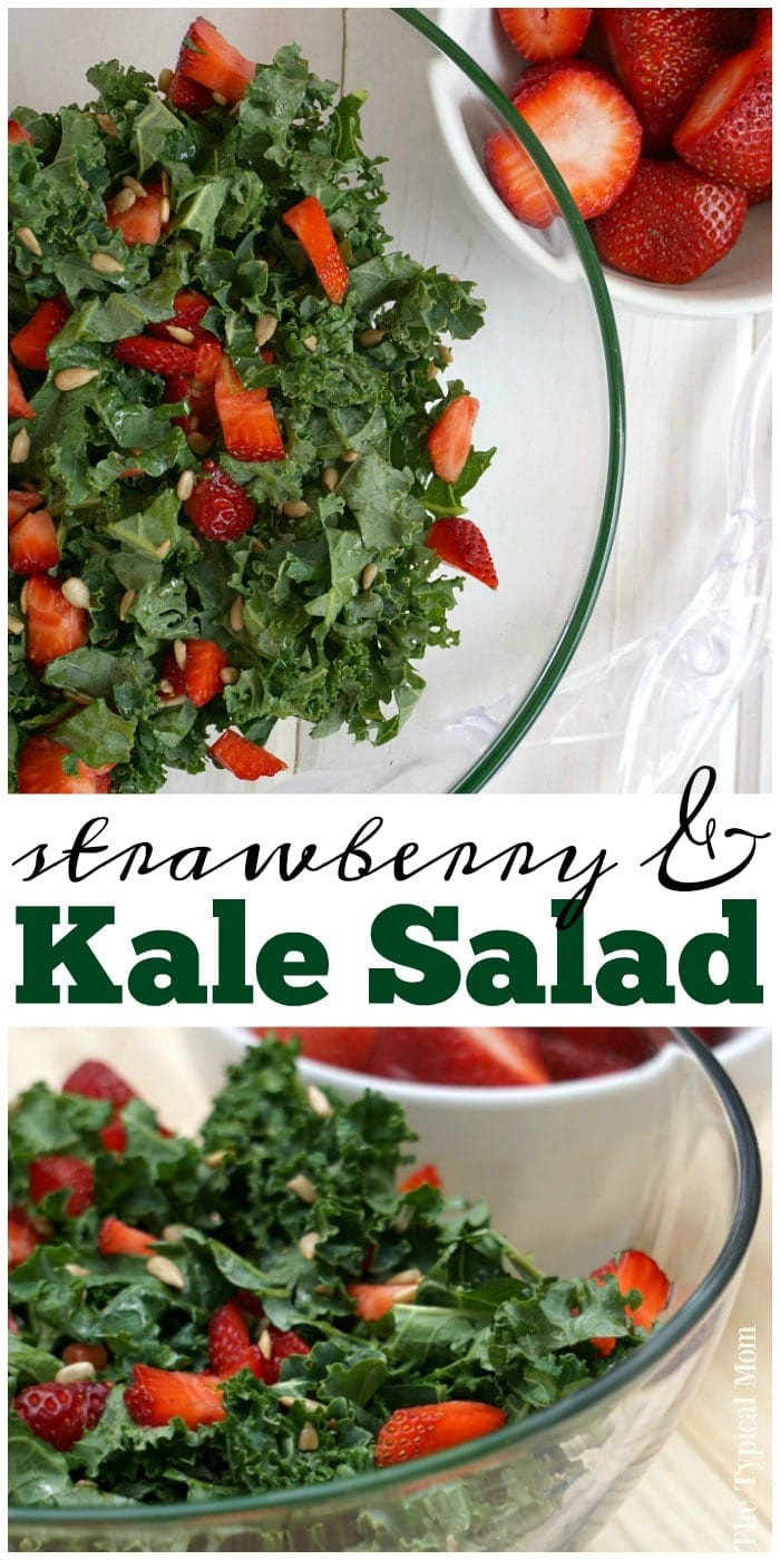Kale strawberry salad that's a perfect barbeque side dish or served with dinner! Just a few ingredients for a healthy salad with a dash of fruit.