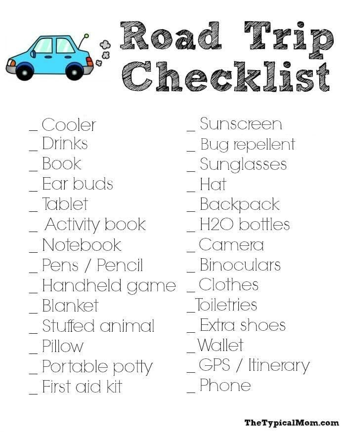 Road Trip Packing List  The Typical Mom