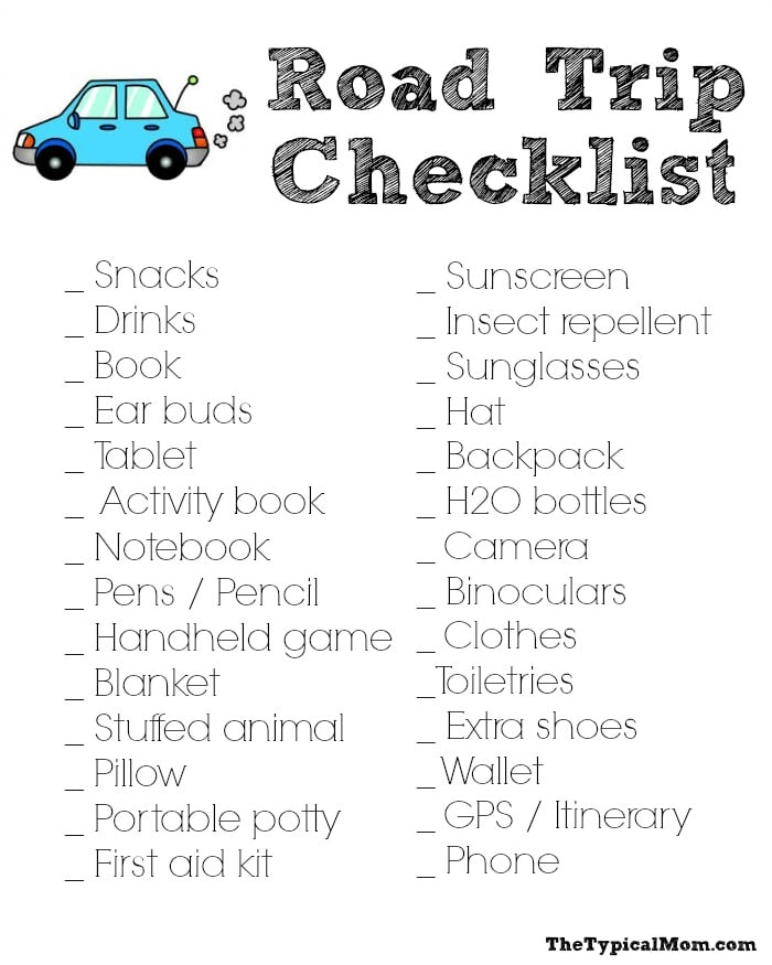 printable road trip checklist