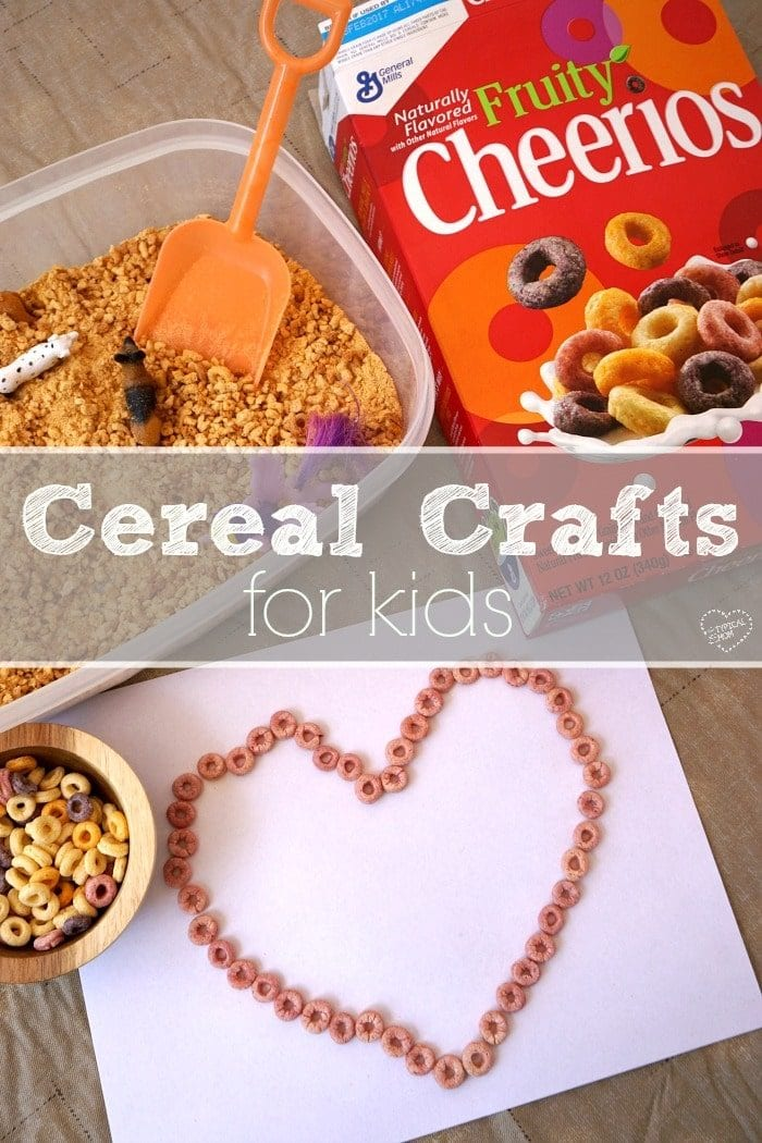 Simple crafts for kids using cereal that are so much for fun. An easy craft for toddlers and kids to keep them busy for hours.