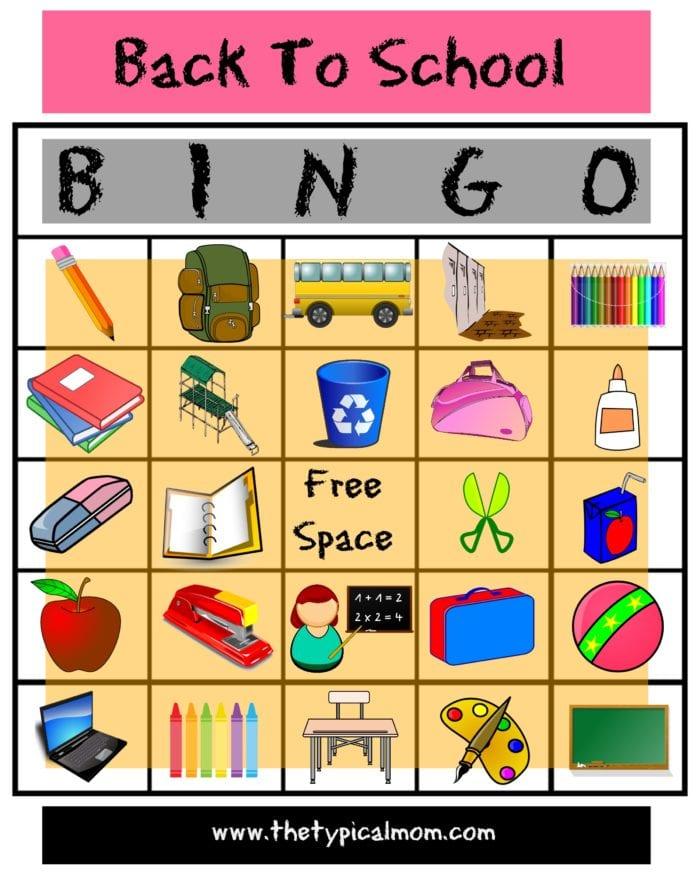 Back to School Bingo · The Typical Mom