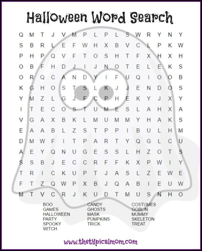 graphic relating to Printable Wordsearch identify Halloween Phrase Appear Printable · The Conventional Mother