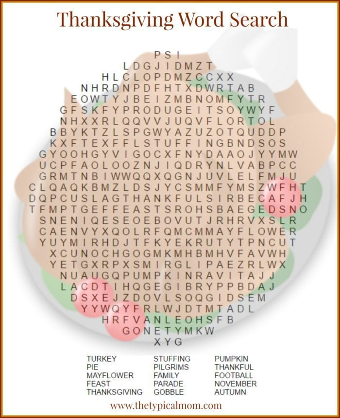 Thanksgiving word search printable for grade schoolers! Shaped like a turkey and with a key at the bottom feel free to print as many here.