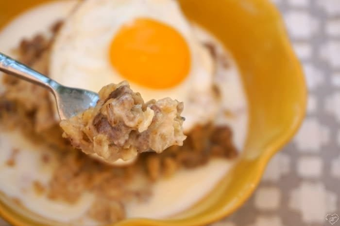 night cereal sausage and egg oatmeal
