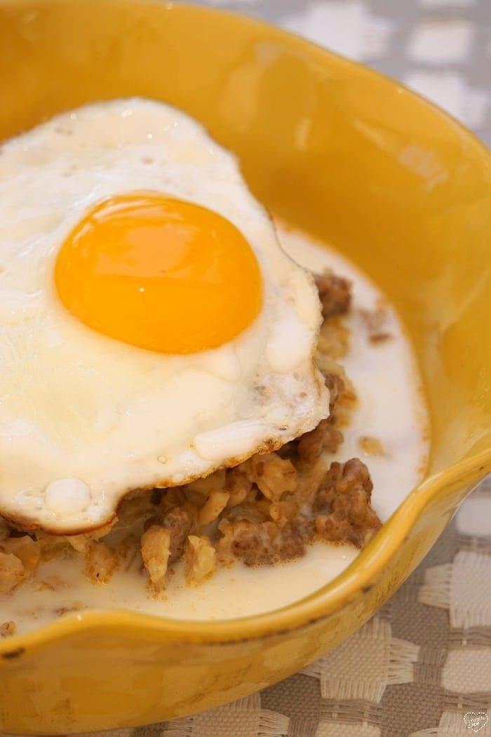 night cereal sausage and egg savory oatmeal