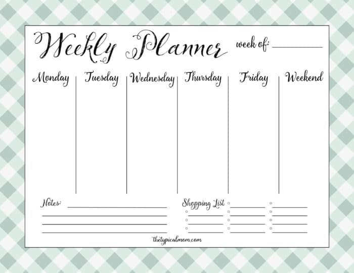 Printable Weekly Planner  The Typical Mom