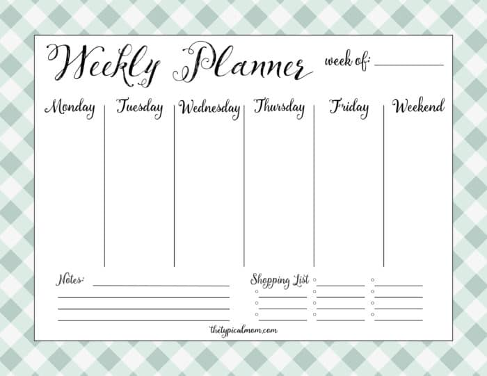 Printable Weekly Planner · The Typical Mom
