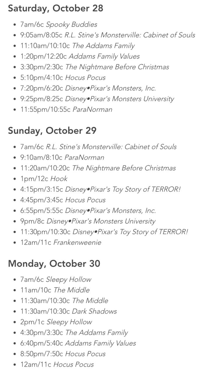 halloween television show schedule