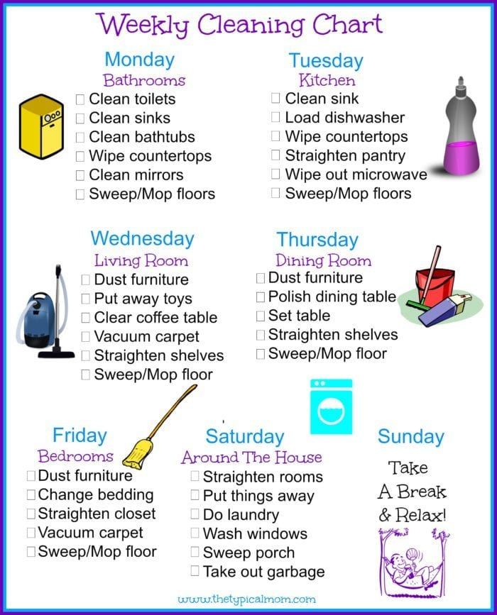 house cleaning schedule the typical mom