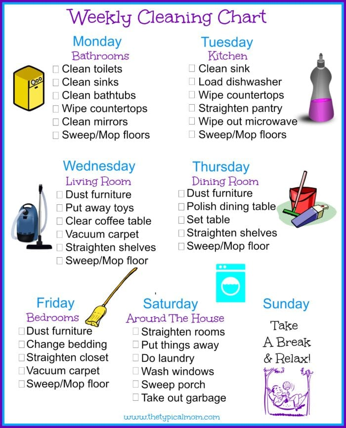 house rules chart template - house cleaning schedule the typical mom