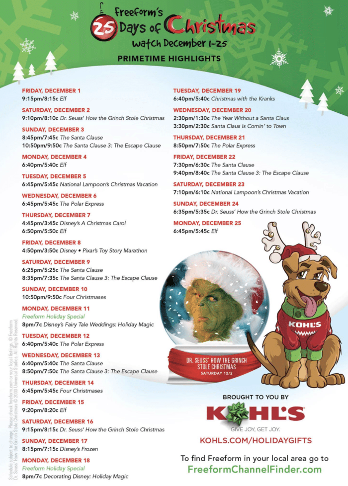 25 Days Of Christmas 2020 Abc Family 2020 25 Days Of Christmas Schedule For Disneyland