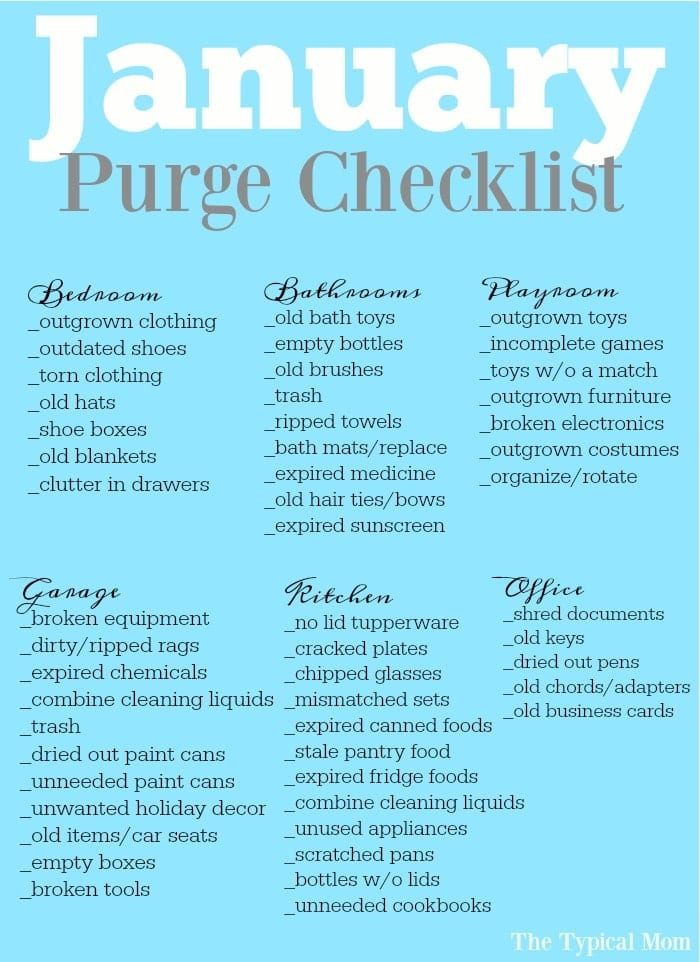 Free Printable January Purge Checklist · The Typical Mom