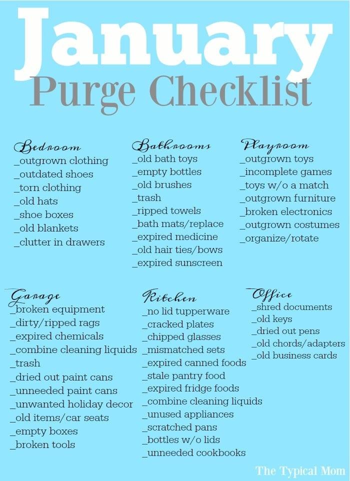 free printable january purge checklist  u00b7 the typical mom