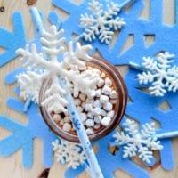 Chocolate snowflake stirrers