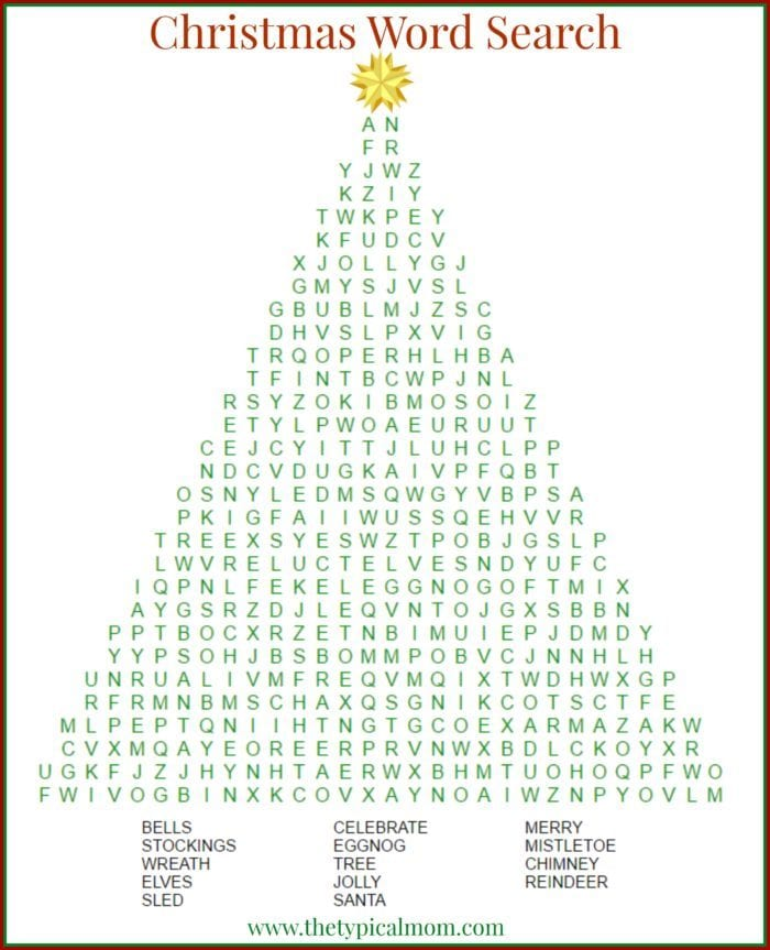 Christmas word search * The Typical Mom