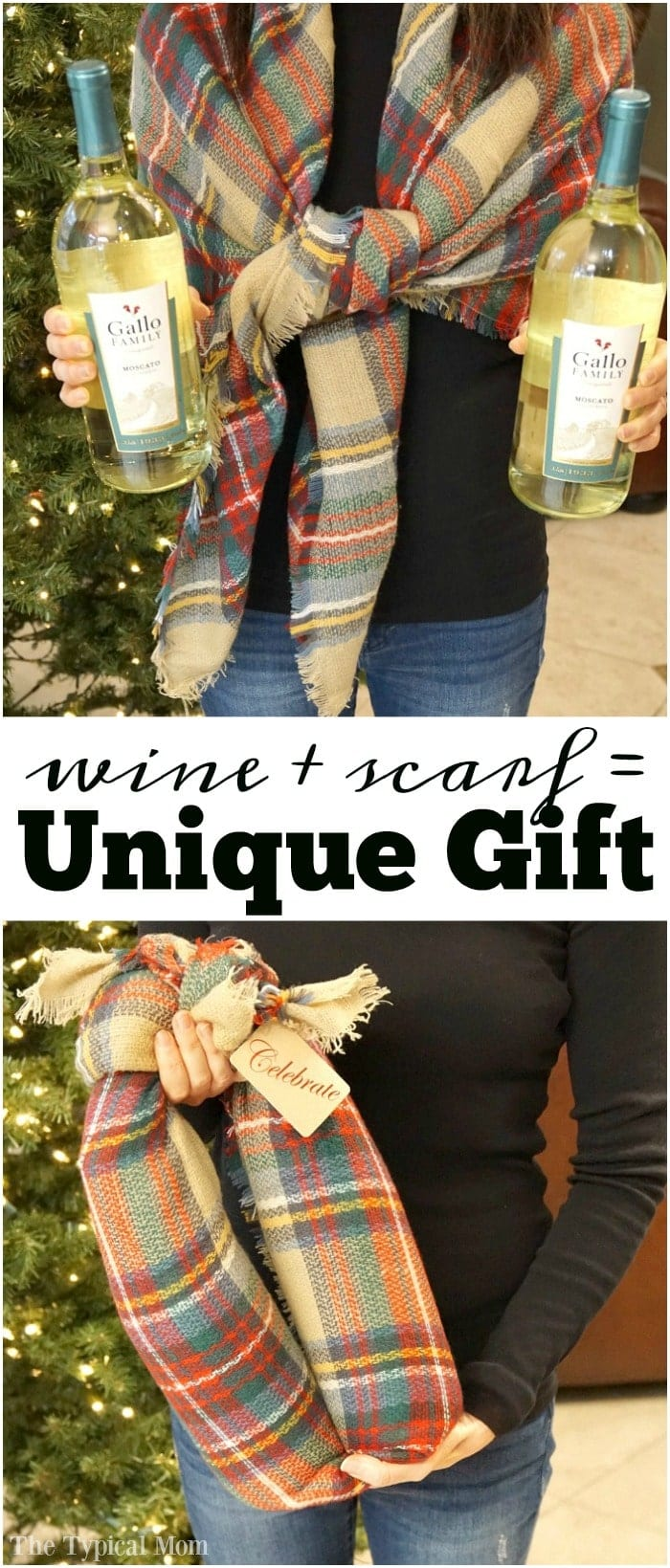 How to gift wine bottles in a scarf, I use this all the time!! Step by step of how to wrap wine bottles in a scarf to create a unique gift.